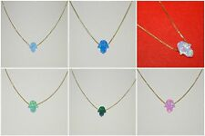 WHOLESALE LOTS 10x8mm Small OPAL HAMSA Fatima Hand 14kt Gold Filled NECKLACES
