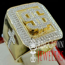 GENUINE DIAMOND BIG BOLD $ SIGN MONEY CROSS MENS PINKY RING BAND 10K GOLD FINISH