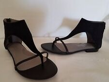 "KENNETH COLE NY ""Wild Dreams"" Black Suede Gladiator Back Zip Thong Sandals 6 M"