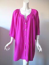 Catherines PLUS Fushia Pink Button Front Short Sleeve Textured Shirt 4X 30/32W