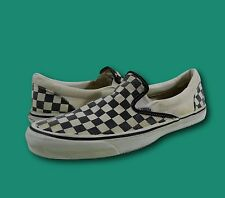 Vintage VANS USA Black Checkered Canvas Skate Skateboarding Sneakers Shoes Sz 12