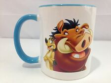 Disney's The Lion King Coffee Mug Timon and Pumbaa Best Friends White Blue Mint!