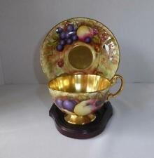 AYNSLEY GOLD  ORCHARD FRUIT FOOTED CUP &  SAUCER  SIGNED  N BRUNT