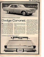 1965 DODGE CORONET 426 HEMI-CHARGER ~ ORIGINAL NEW CAR PREVIEW ARTICLE / AD