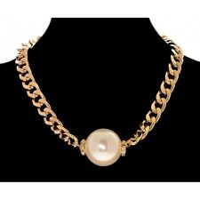 Large Pearl Bead With Diamante Trim on Gold Curb Chain Statement Necklace