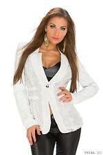 Women's Chic Elegant High Quality Formal Lace Blazer Jacket Coat UK Size 10-12