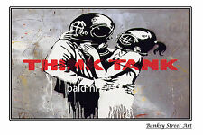 "BANKSY STREET ART ""THINK TANK"" - LARGE PHOTO LOOKS GREAT FRAMED -"