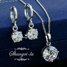 18K 18CT White GOLD FILLED Wedding NECKLACE EARRINGS SET Lab DIAMOND EX902