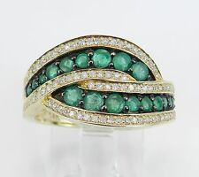 14K Yellow Gold Diamond and Emerald Bypass Anniversary Band Ring Size 7 May Gem