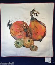 Pottery Barn Autumn Squash Pillow Cover Embroidered Velvet Painted Pumpkin NIP