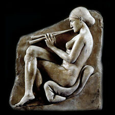 Ancient Greek Nude Girl with Flutes Wall Relief Sculpture Plaque