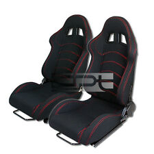 X2 RECLINABLE RED STITCH BLACK CANVAS TYPE-R STYLE RACING BUCKET SEATS+SLIDERS