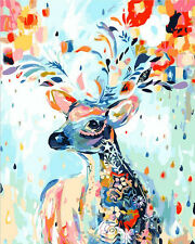 "16X20"" Paint By Numbers Kit Animal Flowers Deer DIY Oil Painting Home Decor 242"