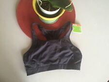 NWT Moving Comfort sports Bra CHILL OUT ebony gray yoga med impact L 36AB-38A