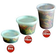 8 16 32 oz Clear Plastic Soup/Food Containers w/Lids Combo 24/EACH 100% BPA Free