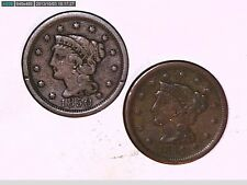 1850 AND 1856  BRAIDED HAIR LARGE ONE CENT COINS (GREAT)