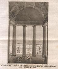 1845 Napoli palazzo reale   incisione su rame