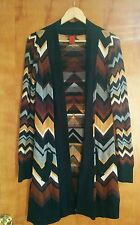Missoni for Target Brown Chevron Cardigan Open Front Long Sweater Size M zigzag
