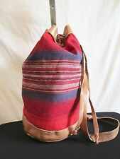 Large Southwestern Red Canvas & Brown Leather Slingback Backpack Handbag