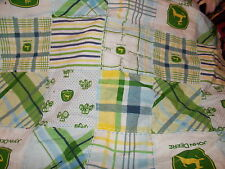 2 layer green    cotton flannel John deere   baby toddler personalized  blanket
