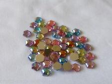 50 Glitzer-Steine Rhinestones Farbmix / Hexagon  - Scrapbooking - 6mm -  Neu
