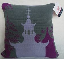 "$65 NWT Jonathan Adler Pillow Purple Pagoda Needlepoint/Velvet 14"" Square"