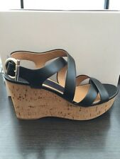 New Authentic Salvatore Ferragamo PERSY BLACK LEATHER CORK WEDGE 6 NWOB $575