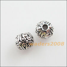 18 New Charms Tibetan Silver Tone Round Ball Flower Spacer Beads 6mm