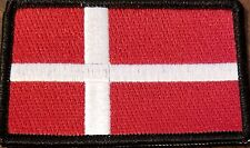 DENMARK  Flag Embroidered Iron-On Patch Military Emblem Black Border