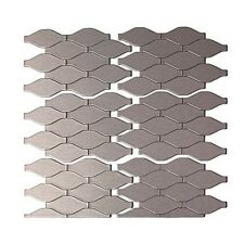 Aspect Peel and Stick Backsplash 6in x 4in Wavelength Stainless Matted Metal