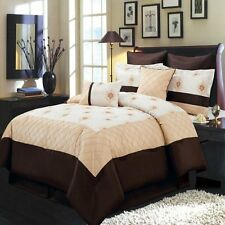 Madison Gold Ivory and Chocolate Queen Size Luxury Floral 8 Piece Comforter Set