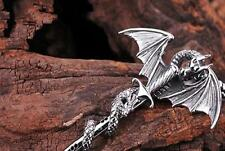 Fashion Men's Flying Dragon Sword Titanium Stainless Steel Pendant Necklace