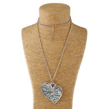 Large abstract metal peace heart pendant & long chain necklace silver lagenlook