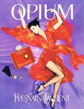 PUBLICITE ADVERTISING 084  1996  YVES SAINT LAURENT parfum OPIUM LINDA EVANGELIS