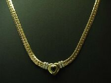 14kt 585 GOLD COLLIER MIT DIAMANT & HERZ SPINELL BESATZ / DIAMANTCOLLIER