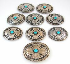 Navajo Handmade Sterling Silver & Turquoise Concho Belt Set │RS BBX