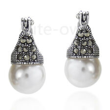 Vintage Marcasite 925 Sterling Silver 12mm White Shell Pearl Earring For Gift