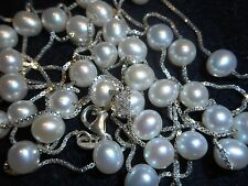 """Italian 48"""" White Cultured Pearl 6-6.5mm Necklace Sterling Chain Old stock Mint"""