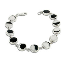 """Lunar Phases of the Moon Enameled Inlay Sterling Silver 7"""" Link Bracelet"""