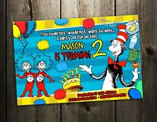 DR. SEUSS BIRTHDAY PARTY INVITATION CAT IN THE HAT CARD CUSTOM 1ST FIRST H6