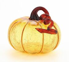 "New 7"" Hand Blown Crackle Art Glass Amber Pumpkin Sculpture Fall Harvest"
