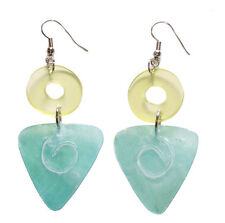 Bahama Mama-Blue Triangle & Clear Green Plexi Circle Earrings(Zx29/204)