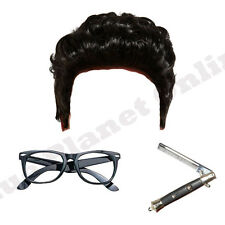 Peluca Para Hombre Teddy Boy 50S Negro Gafas Flick Peine Chic Fancy Dress Costume