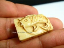 Bone Hand Carved Coi Fish Bead Chinese Lucky Pendant Charm x Bracelet Necklace