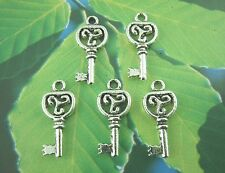 10 Tibetan Silver Key Heart Pendant Charms 21mm