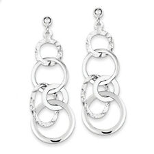 925 Sterling Silver Textile Polished And Textured Circle Post Dangle Earrings
