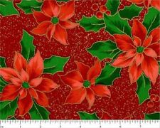 #I111 BTFQ Christmas Metallic Poinsettia on Red Cotton Quilt Fabric FAT QUARTER