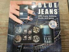 Amazing Shine Blue Jeans Manicure Kit w/ rivets, buttons, studs & gems. w/refill