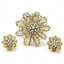 VAN CLEEF & ARPELS Dentelle 1940s Diamond Flower Brooch & Earrings