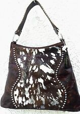 Raviani Western Distressed Leather Handbag Purse w/ Silver Acid Wash CowHide